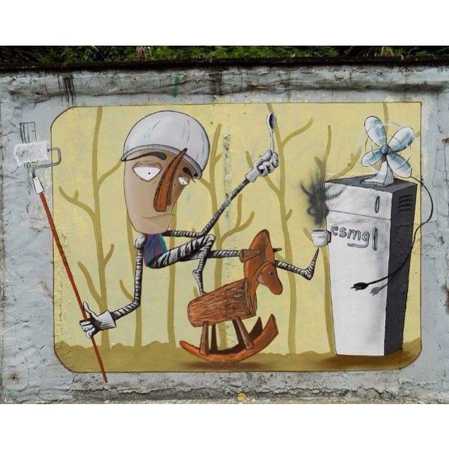 """""""Don Chisciotte e Il Mulino a Vento""""  Fabio Petani - Pinerolo, Turin, Italy.  #fabiopetani #pinerolo #turin #italy #graffiti #streetart #urbanart #elgraffiti #art #mural @fabiopetani"""