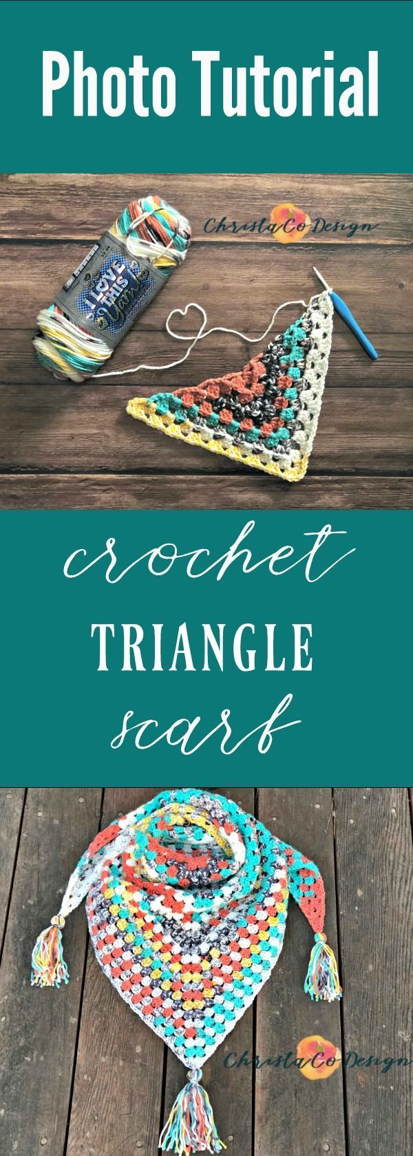 Crochet Triangle Scarf Photo Tutorial & Giveaway