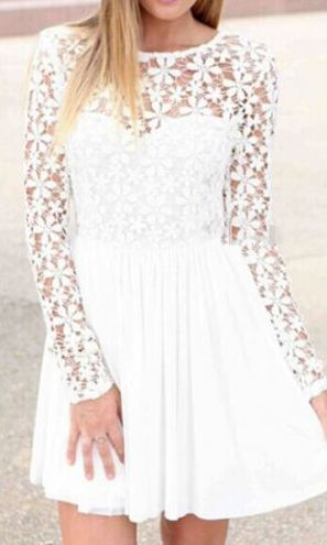 Autumn Essential White Lace Splicing A Line Dress