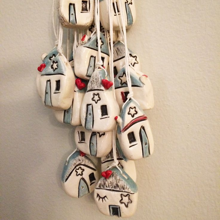 Bunch of ceramic/clay Houses made by Eleanor Gillitt