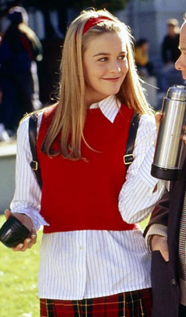 Cher Horowitz wearing a red sleeveless jumper in Clueless