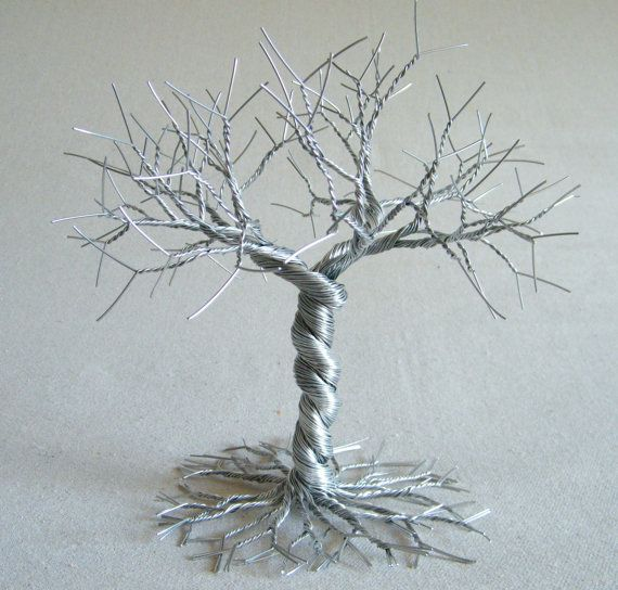 Twisted silver cake topper silver wedding decor . by KunsWerk