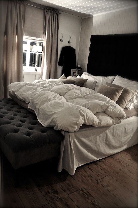 Don't know if I would do the black headboard, but I love the size of it and the wood floors are nice too-