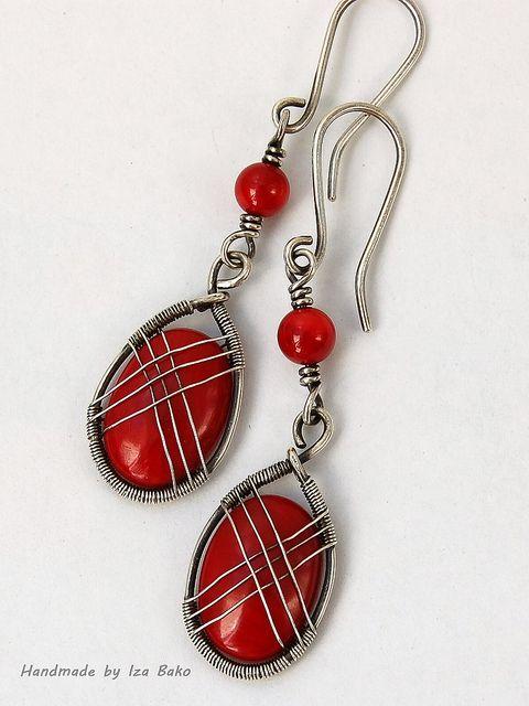 Coral Criss-Cross Earrings by izabako, via Flickr