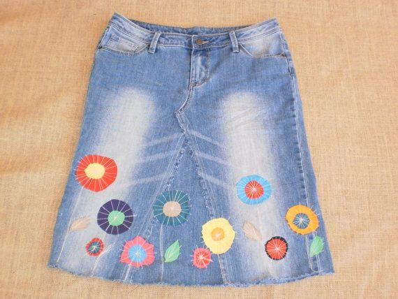 Denim skirt,  jersey flowers, bohemian hippie Ladies embellished skirt, Hobo, ethnic  cotton denim.  Made in Australia.