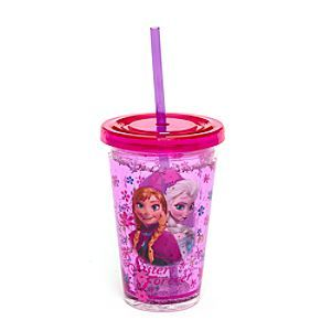 Disney Frozen Waterfill Tumbler With Straw | Disney StoreFree Shipping - Our Frozen tumbler casts an enchanted spell over drinks time. It features character artwork and slogan, sides filled with water and flower shapes, plus a screw-tight lid with built-in straw.
