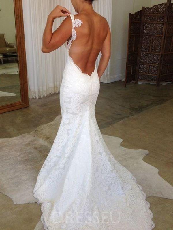 Lace Floor Length Spaghetti Straps Sleeveless Church Wedding Dress Wedding Dresses Backless Wedding Wedding Dresses Lace
