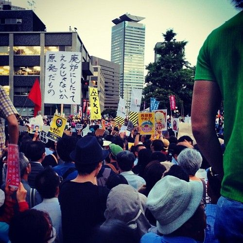 Anti-Nuclear Demonstration in Japan.  Nuclear Power and Weaponization is UNSUSTAINABLE.  There is a BETTER WAY.  Photo by @cowtan