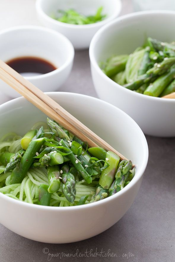 Cucumber Noodles with Asparagus and Ginger Scallion Sesame Sauce ...