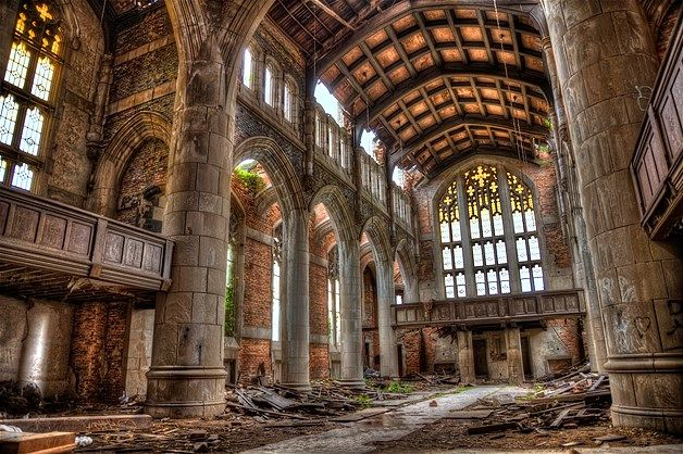 """""""The Beauty of Abandoned Places"""" 45 images of abandoned buildings and landmarks around the world. This image: City Methodist Church, Gary, Indiana (© Via www.flickr.com/photos/joeybls/) Sadly, I noticed several of the buildings included are located in Detroit, MI."""