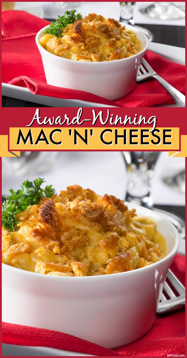 This macaroni and cheese recipe deserves an award! No, really. It's made with two types of cheese, some yummy spices, and a crispy, butter cracker topping. Yum!