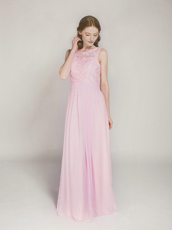 blush floor length chiffon and lace bridesmaid dress