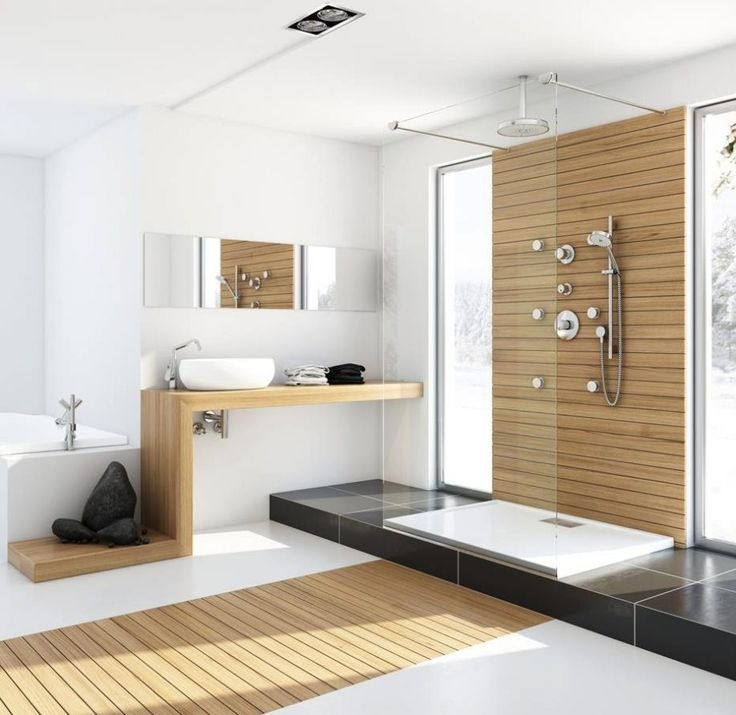 Bathroom. Wooden Accent Floor Idea Also Unique Vanity And Shower Without Door Feat Frameless Mirror In Modern Bathroom Design. Natural Color of Modern Bathroom Design as the Latest Trend Choice