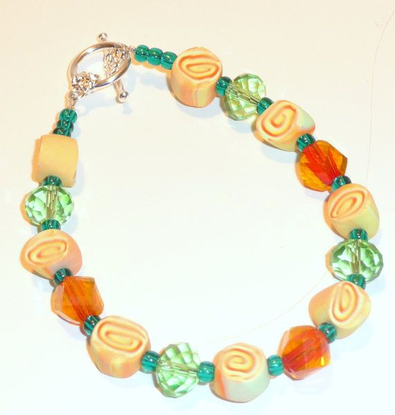 Green and Orange Polymer Clay and Glass Bead Bracelet