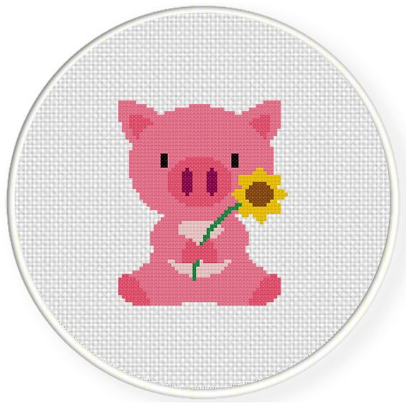 Charts Club Members Only: Baby Pig Cross Stitch Pattern
