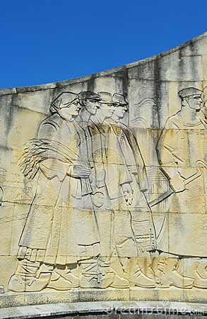 The Romanian soldier monument, details, in the city of Baia Mare, the capital of Maramures County.
