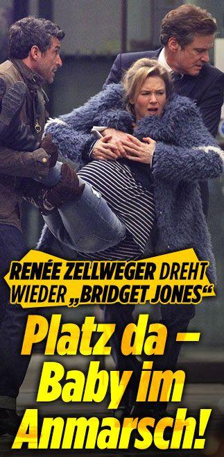 """Bridget Jones""-Dreharbeiten mit Renée Zellweger: Platz da – Baby im Anmarsch! http://www.bild.de/unterhaltung/kino/bridget-jones/schwangere-bridget-wird-auf-haenden-getragen-43792604.bild.html"