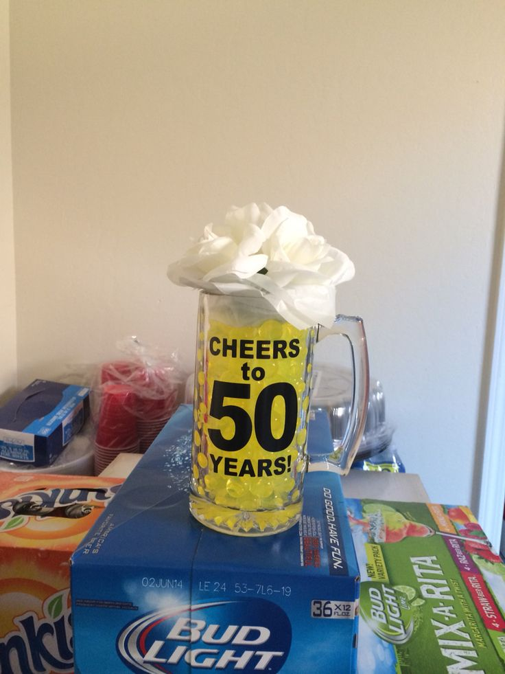 50th BDay beer mug centerpiece