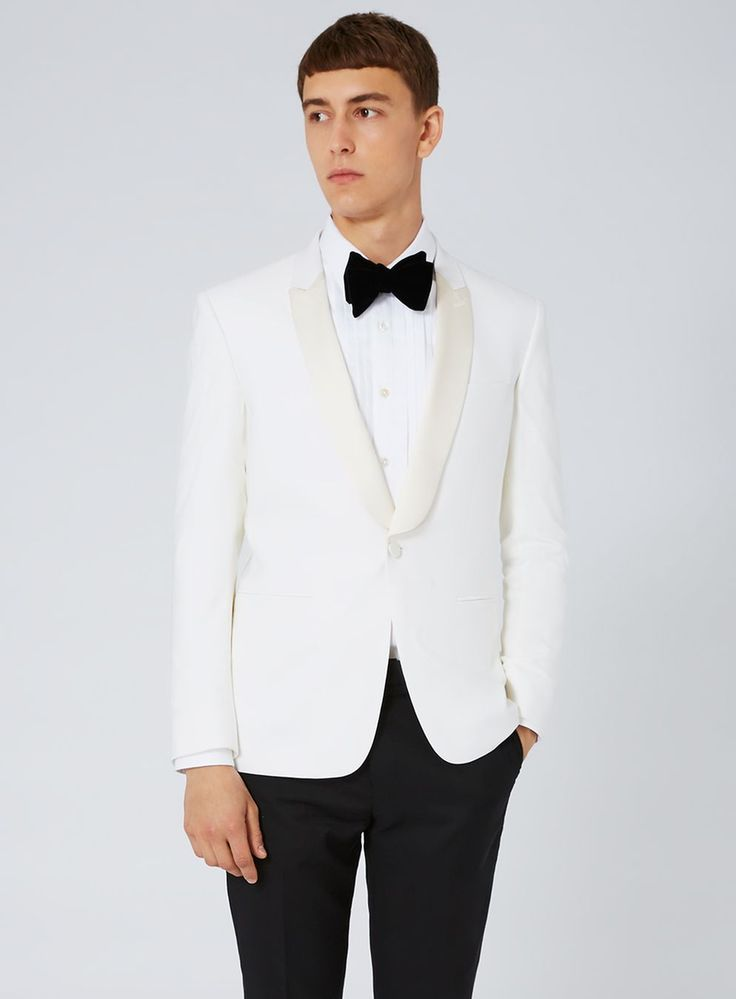 CHARLIE CASELY-HAYFORD X TOPMAN Off White and Black Skinny Occasion Suit