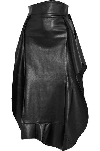 A.W.A.K.E. - Ruffled Faux Leather Midi Skirt - Black - FR