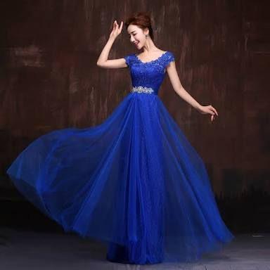 Vestidos en azul rey largos