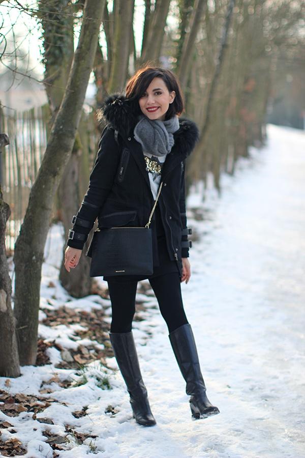 Maje Parka, Set Vest, Zara tee, Pieces skirt, Louboutin boots, Whistles bag, COS scarf