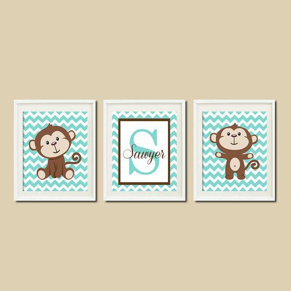 Garçon singe pépinière Art déco monogramme par LovelyFaceDesigns