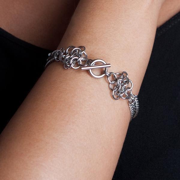 Rapt In Maille — METAL Small Rosette Ribbon Bracelet