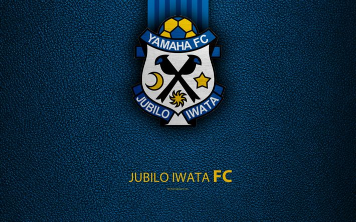 Download wallpapers Jubilo Iwata FC, 4k, logo, leather texture, Japanese football club, Jubilo emblem, J-League, Division 1, football, Shizuoka, Japan, Japan Football Championship