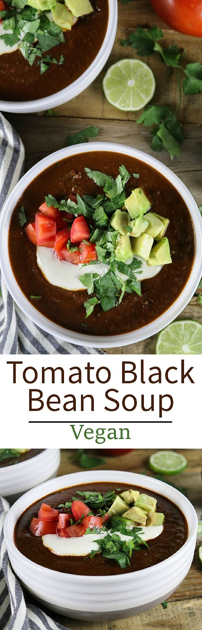This Tomato Black Bean Soup is from Jason Wyrick's new book Vegan Mexico - it's hearty, healthy and bursting with authentic Mexican flavor! Vegan & gluten-free.