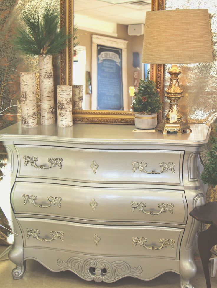 Bombay chest painted in General Finishes Argentine Pearl silver pearl effects. ReBlessed | Poplar Bluff, MO