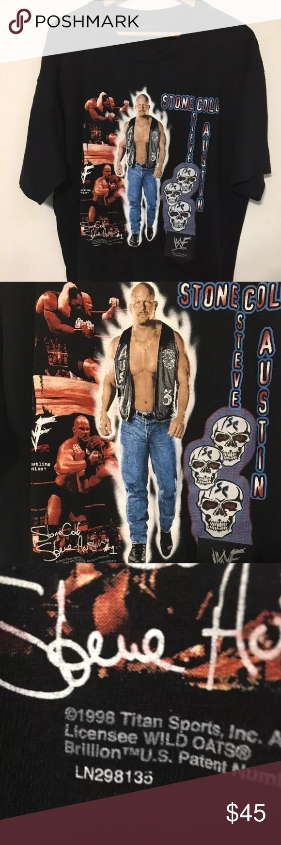 VTG Stone Cold Steve Austin Talking Shirt WWF Wwe VTG Stone Cold Steve Austin Talking Shirt 90s WWF Wwe Rare 2XL Rare! The talking part detaches and it can just be a normal shirt.  The talking feature hasn't been used in years it may need a new battery. Buy knowing that it might not work. But it also might work after a new battery. I have no way of confirming it works. Buy knowing that! !!  Shirt is worn. And not new condition.   Message me any questions. Vintage Shirts Tees - Short Sleeve