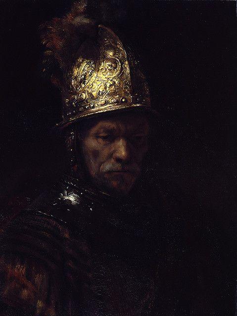 """Esta es una de las famosas pinturas de Rembrandt, """"Hombre en un casco de oro"""". …"""