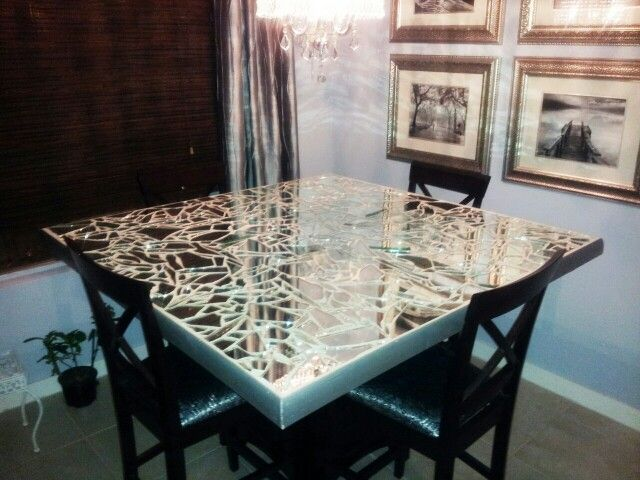 DIY Broken Mirror Dining Table Top. I Didnt Know There Were Others Doing  This Til