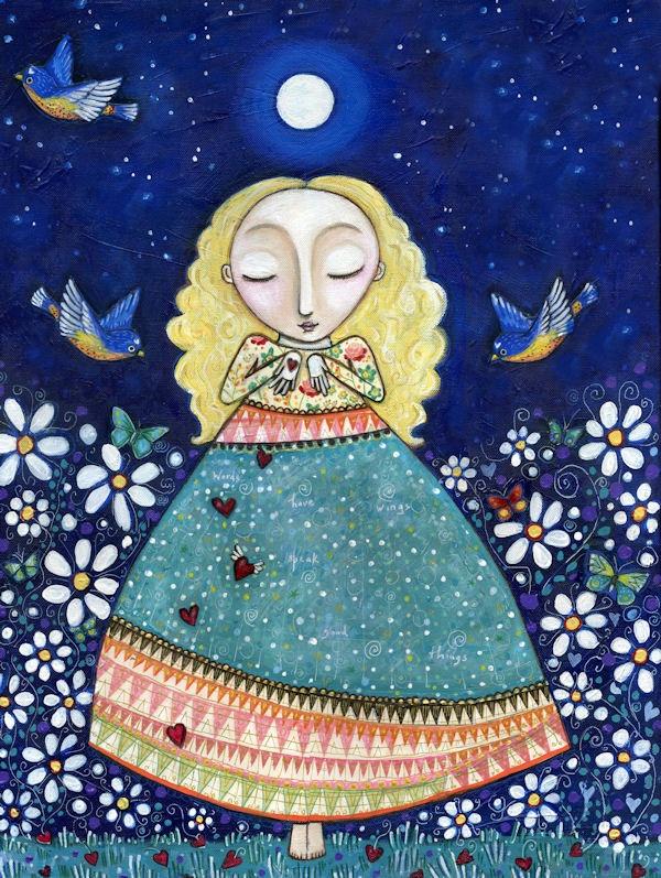 "Blonde girl folk art painting mixed media whimsical art print birds bluebirds inspirational wall decor art for bedroom- ""Words Have Wings"". $20.00, via Etsy."