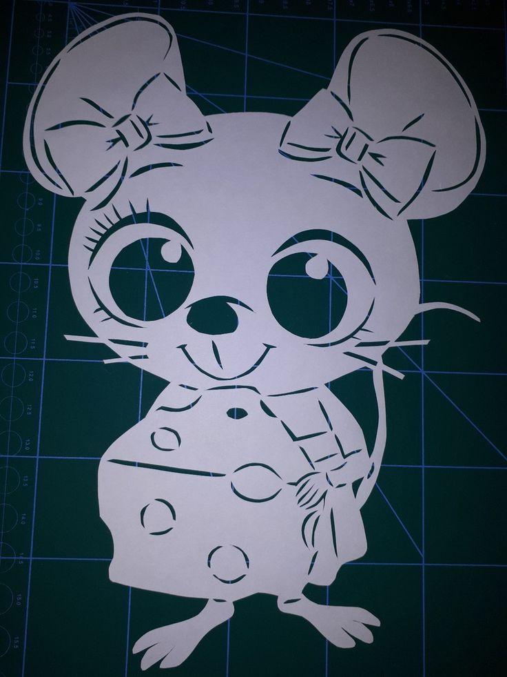 Мышка картинка на окно для вырезания