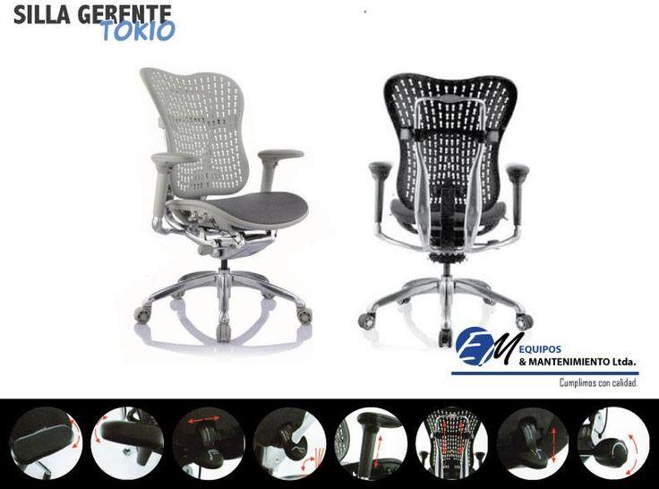 Silla Gerente Tokio, diseñada para aquellas personas que les gusta el espaldar de la silla mas rígido, fabricado en polipropileno, plástico en resina blanda, asiento en malla traslúcida  sintética antitranspirante. Diseño y ergonomía para todos los gustos. #sillasdeoficina #tokio #sillas #oficina #hogar #diseñoiInteriores