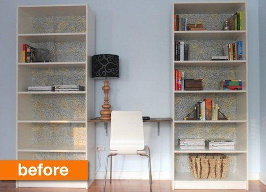 Ikea billy shelves & piece of wood desk