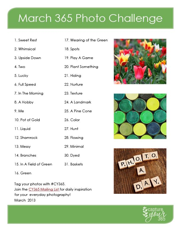 March 365 Challenge List | CaptureYour365