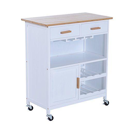 Homcom® Küchenwagen Küchentrolley Beistellwagen Küchenwagen Servierwagen mit Weinablage, L76 x W40 x H88cm, weiß + natur
