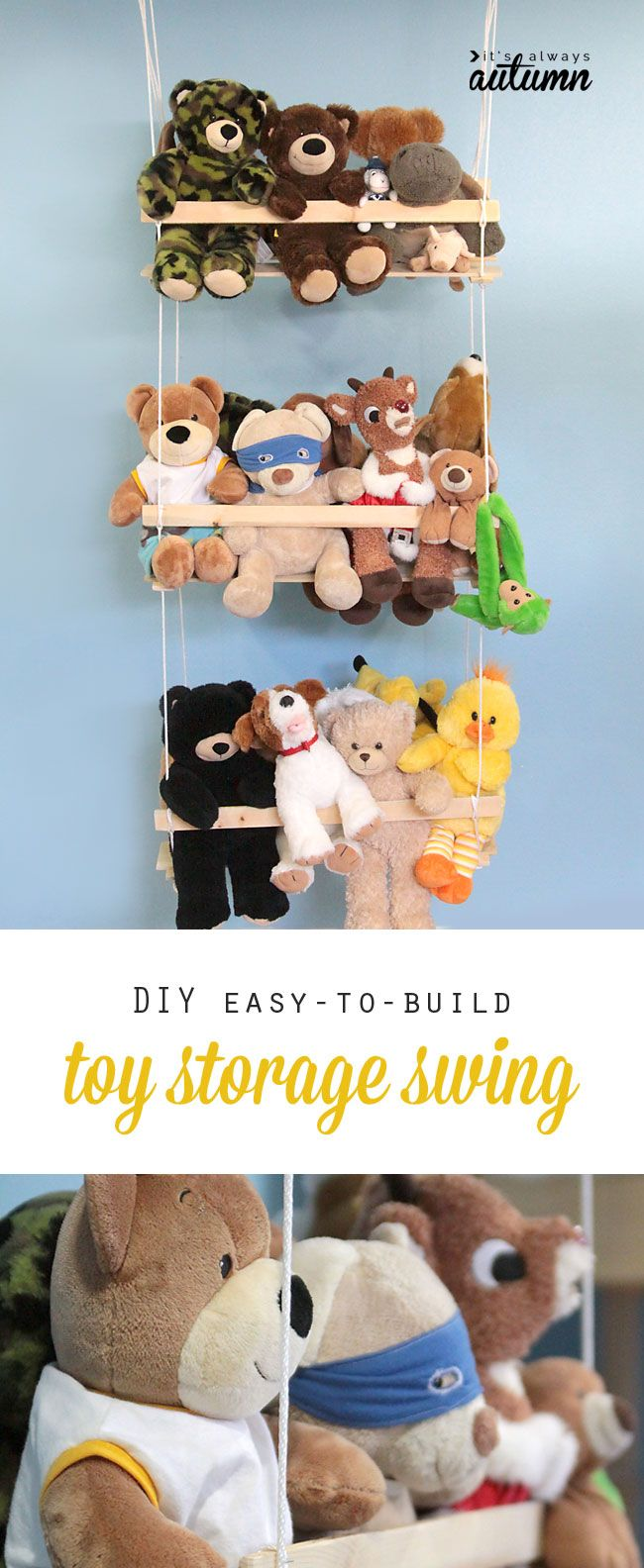get those stuffed animals off the ground with this easy to build DIY hanging toy storage swing
