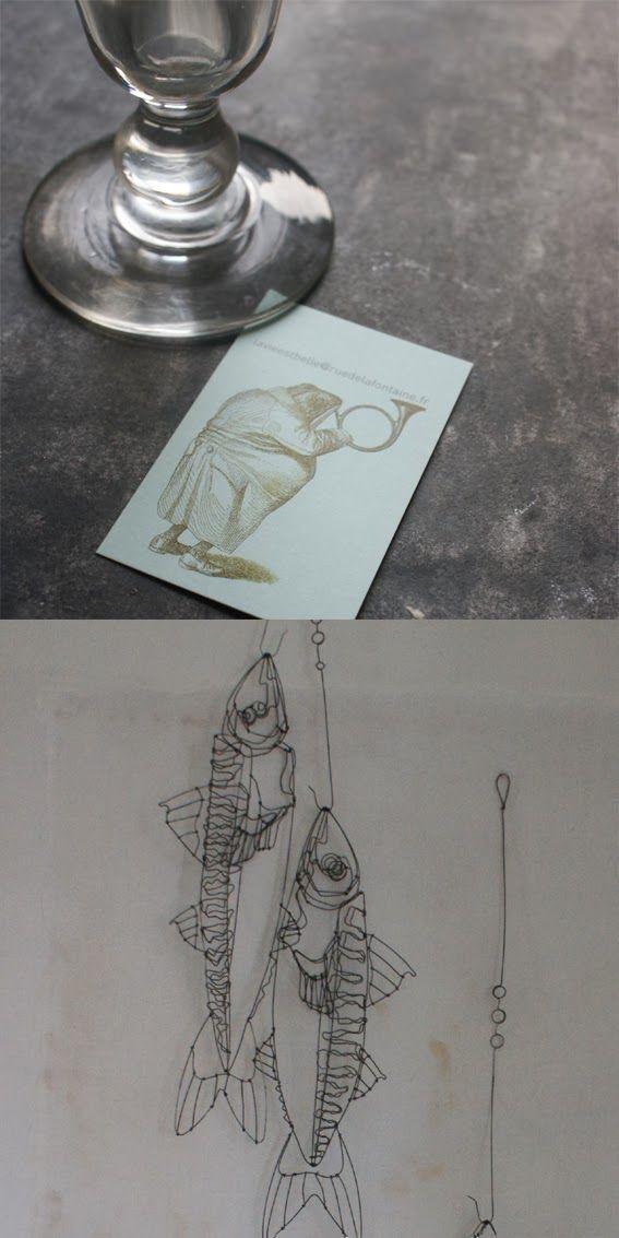 objets fils de fer sculptures et objets: poisson