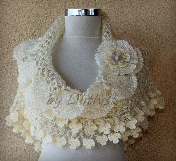 Ivory Gold Bridal Shawl Crochet Shawl Wedding Wrap by lilithist