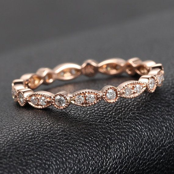 Art Deco SI-H Diamond Ring, .32ct Diamond Eternity Band, Milgrain Antique Style,14K Rose Gold /Yellow Gold/White Gold Metal,Anniversary Ring