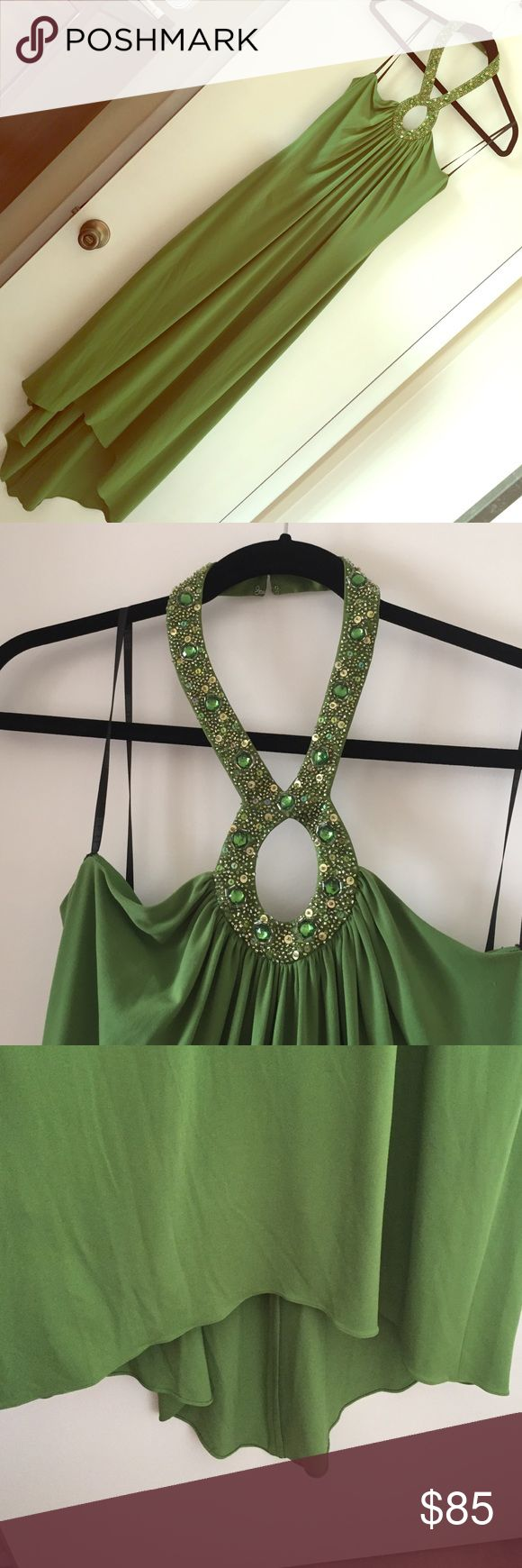LAUNDRY dress Green halter LAUNDRY dress with beaded sexy neckline. Hi-low midi hemline. Worn only once. In great condition. Laundry by Shelli Segal Dresses High Low