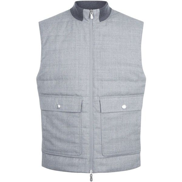 Brunello Cucinelli Two Pocket Wool Gilet (122.255 RUB) ❤ liked on Polyvore featuring men's fashion, men's clothing, men's outerwear, men's vests, mens wool vest, mens multi pocket vest, mens quilted vest and mens wool outerwear