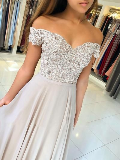6939a9e8ea6 Elegant Champagne Chiffon Long Prom Dresses With Lace,Beaded Off ...