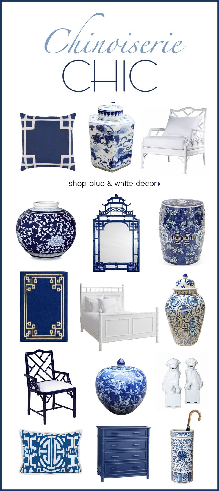 Get Chinoiserie Chic, with our beautiful selection of blue & white accessories, featuring Asian patterns & motifs. It's elegant, fresh and easy to incorporate into your coastal, traditional or modern decor. // SHOP NOW >