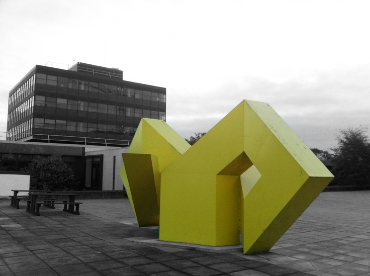 "Galway Yellow, perhaps more affectionately known as the ""Big Yellow Thing"" by students, is the creation of artist Brian King. The sculpture, based on Celtic knot, was installed in 1976 and is today on the Galway City Council's protected structure list."