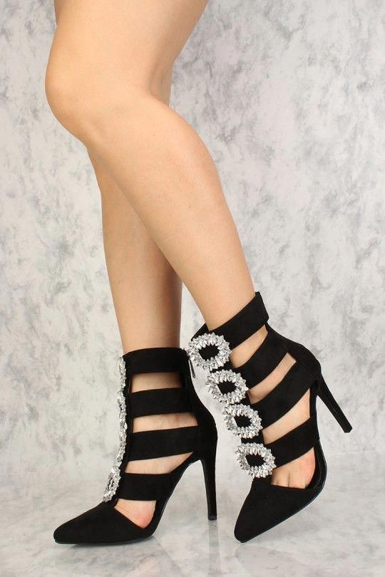 2c836a263185 Sexy Black Rhinestone Cut Out High Heels Faux Suede  Promshoes ...